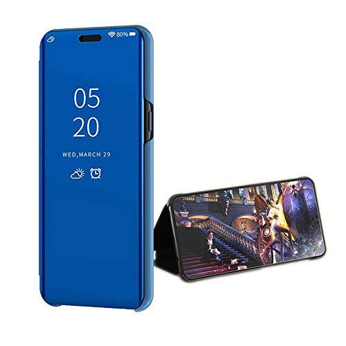 Compatible Funda Translucent Xiaomi Redmi GO/5A Azul, Inteligente Teléfono Carcasa Espejo Mirror Window View, Espejo de Maquillaje Mirror Flip, Estéreo Soporte Pioneer