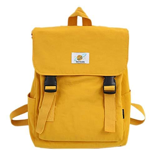 Fltaheroo Ladies Canvas Schoolbag Girl Travel Bag Backpack Student Large Capacity Backpack Pure Color Casual Backpack Handbag Yellow