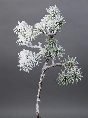 Seidenblumen Roß Japanischer Pinienzweig mit Schnee 36cm JA Kunstzweig künstlicher Tannenzweig künstliche Pinie Tanne