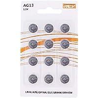 Pack de 12 Pilas AG13 1,5V Tipo Botón de Litio, LR44, A76, GP76A, 357, SR44W, SR44SW
