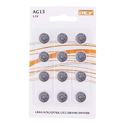 Pack de 12 Pilas AG13 1,5V Tipo Botón de Litio, LR44, A76,...