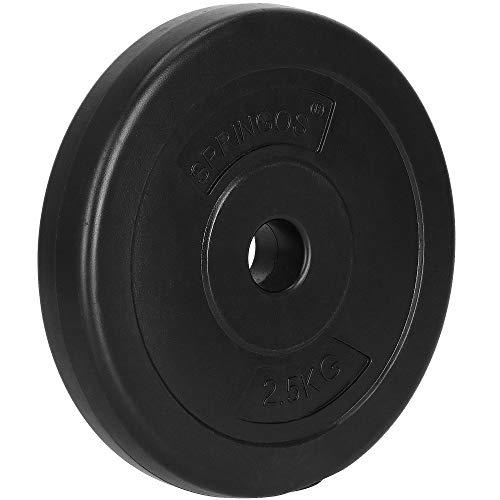 SPRINGOS – Discos de pesas, pesas, con orificio de 31mm, betún, sólidos, duraderos y robustos, Negro, 2,5 kg.