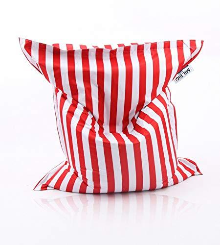 Beauty.Scouts Kinzler Sitzsack Stripes Indoor und Outdoor geeignet 140x180cm Sitzmöglichkeit Sitzkissen bunt schlicht Farbe rot