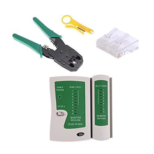 Crdzsw Kit de probador de cables Kit de probador de cables Kit de alinción engarce + 100pcs RJ45 CAT5 CAT5E Conector Conector modular Kit de herramientas de la red Herramientas de corte y desmontaje.
