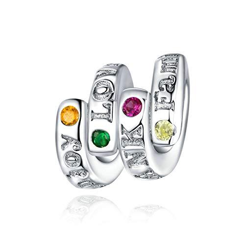 HMMJ S925 Sterling Siling Charms Beads, DIZ DIY DIY Moda Hecha a Mano Inglés Línea de Letras Colgante Compatible con Pandora Troll Chamilia Pulsera Europea Collares