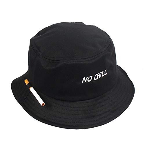 LinZX Zigarette Stickerei Bucket Hat Männer Frauen Hip Hop Angeln Cap Adult Panama Bob-Hut-Sommer-Liebhaber Flat Hat,Black