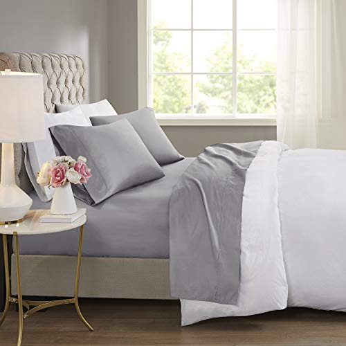 Beautyrest BR 600 TC Cooling Cotton Blend Solid Sheet 16 Inch Deep Pocket Hypoallergenic, All Season, Soft Bedding-Set, Matching Pillow Case, Queen, Grey 4 Piece