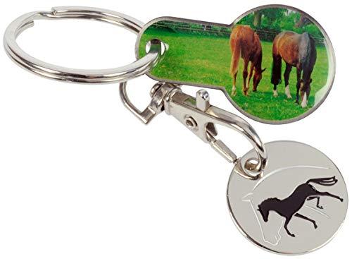 Herramienta 2 en 1 para carro de la compra, diseño de caballos, llavero con ficha para el carro de la compra extraíble y ficha de la compra, jinete, ocio y viajes