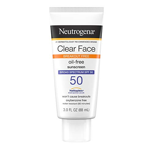 Neutrogena Clear Face Liquid Lotion Sunscreen for Acne-Prone Skin, Broad Spectrum SPF 50 UVA/UVB Protection, Oil-, Fragrance- & Oxybenzone-Free Facial Sunscreen, Non-Comedogenic, 3 fl. oz (Pack of 3)