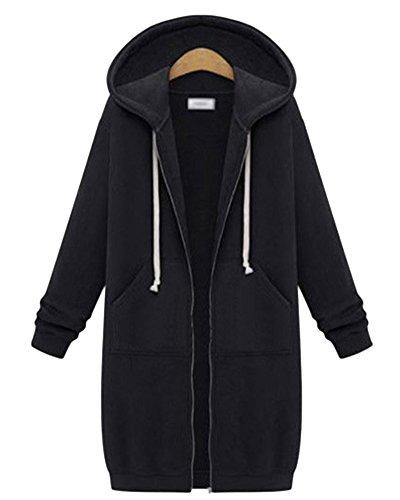 Damen Langarm Fleece Sweatshirt Mantel Zip Hoodies Sweatjacke Kapuzenjacke Kapuzenpullover Sweatshirt Oberteil Schwarz 5XL