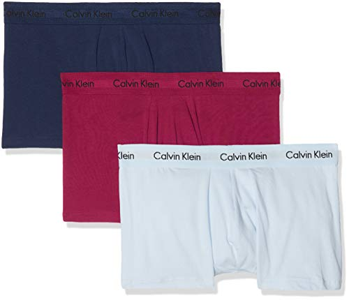 Calvin Klein Herren 3p Low Rise Trunk\' Boxershorts, Blau (Presidental Blue/Maggie/Vent Kju), Large (3er Pack)