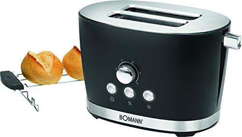 Bomann TA 3005 - Tostadora de pan, 2 ranuras, 3 funciones, tostar, calentar y descongelar, 850 W, regulador de nivel de tostado, calienta panecillos o bolleria, serie Rock&Retro estilo vintage negro