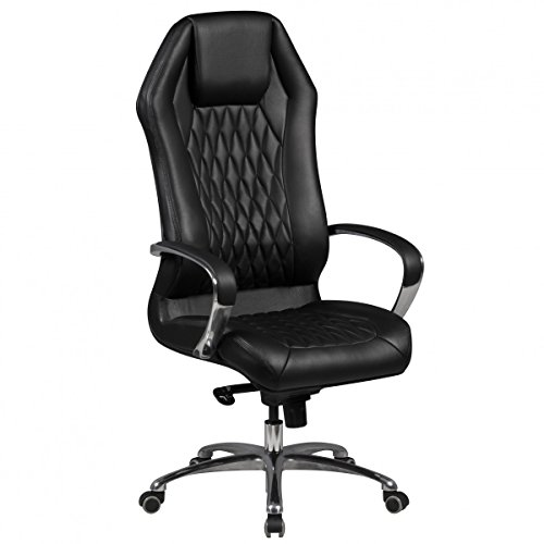 Bürostuhl MONTEREY Echt-Leder Schwarz Schreibtischstuhl 120KG Chefsessel hohe Rückenlehne mit Kopfstütze X-XL