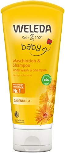 WELEDA Baby Calendula Waschlotion & Shampoo, Naturkosmetik schonendes Duschgel für Babyhaut- und Haar, reinigt und pflegt die Kopfhaut von Kindern und Babys (1 x 200ml)