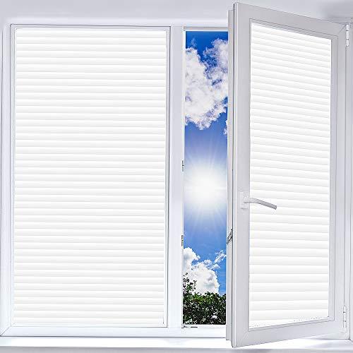 DUTISON Blickdichte Fensterfolie, Statisch Haftend Milchglasfolie Selbsthaftend Streifen Jalousette Folie Klebefolie für Büro Anti-UV, Bad Duschwand, Schlafzimmer und Wohnzimmer - 90x20
