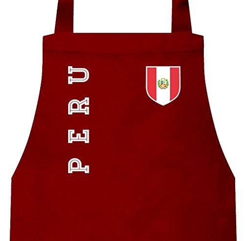 Wappen Fußball WM Fanshirt Gruppen Frauen Herren Barbecue Baumwoll Grillschürze Kochschürze Fan Trikot Peru, Größe: onesize,Rot