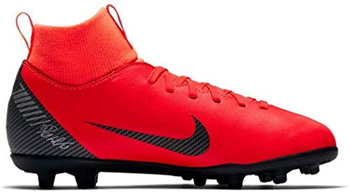 Nike Unisex-Kinder Jr Superfly 6 Club Cr7 Fg/mg Fußballschuhe, Mehrfarbig (Bright Crimson/Black/Chrome 0), 37.5 EU