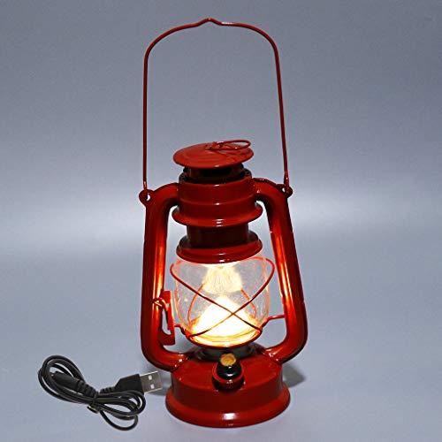 MagiDeal Linterna LED Antigua para Huracanes con Interruptor de Atenuación a Pilas, Linterna Colgante de Metal, 9.45x6.30 Pulgadas - Rojo, Individual