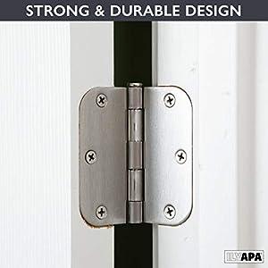 "18 Pack of Door Hinges Satin Nickel - 3 ½"" x 3 ½"" Inch Interior Hinges for Doors Brushed Nickel with 5/8"" Radius Corners"