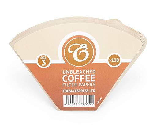 EDESIA ESPRESS - 100 filtri caffè americano in carta non sbiancata - forma a cono - misura 3/102