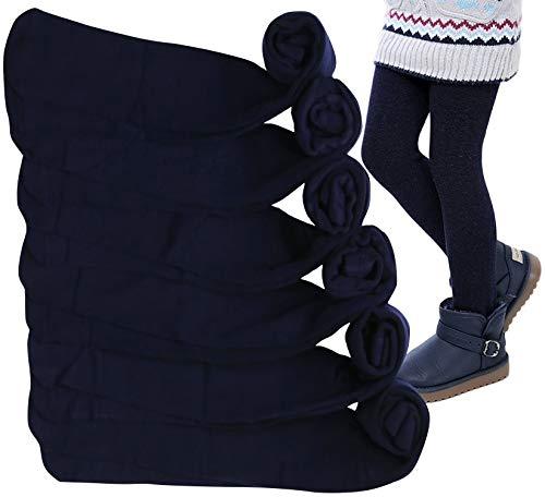 ToBeInStyle Paquete de 6 mallas para uniforme de invierno de punto acrílico para niña, Azul marino/flor y brillo, 1-3 Años