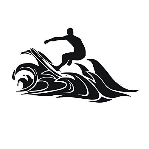 JUNGEN 3D Surfant Autocollant mural Le surf Stickers Muraux 50 * 86cm Simulation créative Wall Sticker Chambre Maison décoration autocollants faux fenêtre paysage