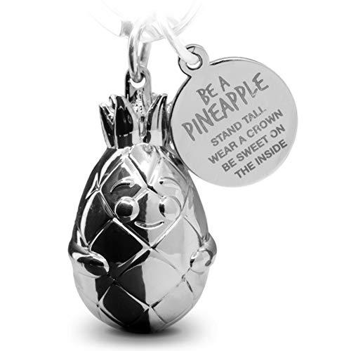 FABACH Ananas Schlüsselanhänger Piny mit Gravur - Süßer Schlüsselanhänger Ananas - Motivation, Freundschaft und Liebe Glücksbringer aus Metall für Frauen in Silber - Be a Pineapple