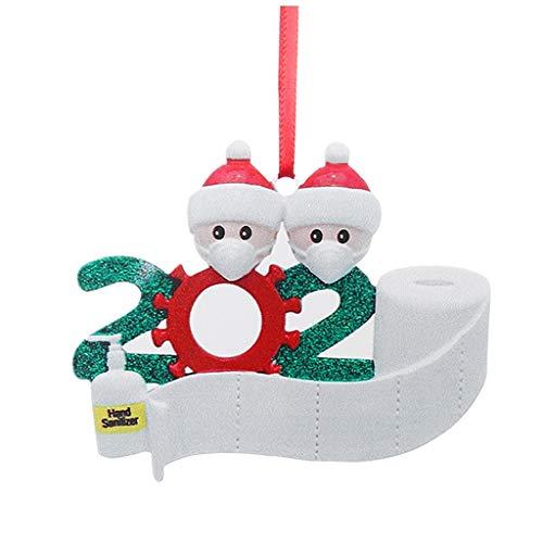 HUBA Weihnachtsdekorationen,personalisierte Weihnachtsschmuck Kit,Quarantäne Überlebende Familie DIY Name Gruß Dekoration Schneemann Anhänger mit Maske Für Weihnachtsbaum Deko, Familienfeier