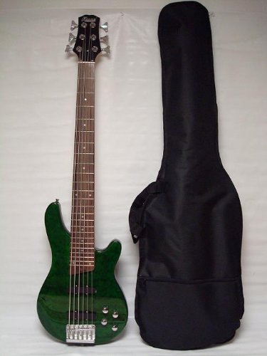 Ktone 6 String Electric Bass Guitar, Green Maple Top Free Bag
