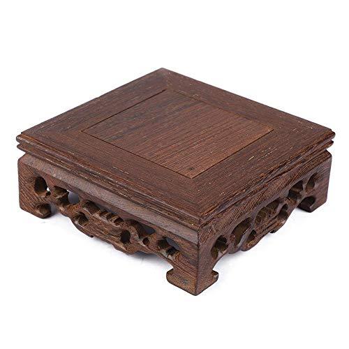 Aufee Asiatischer Pflanzenständer, Vasenständer, Kleiner Holzsockel Retro-Stil Holz für Pflanzenblume für Vasen Bürodekor Home(Length 10 Width 10 Height 3.7)