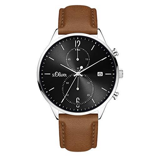 s.Oliver Herren Analog Analogquarz Uhr mit Echtleder Armband SO-4127-LC