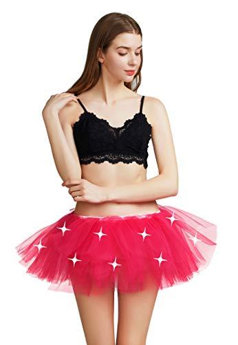 Comall Damen LED Tutu Rainbow Tüllrock Petticoat Regenbogen 80er Jahre Mottoparty Neonfarben für Karneval Halloween Kostüm Neon Pink