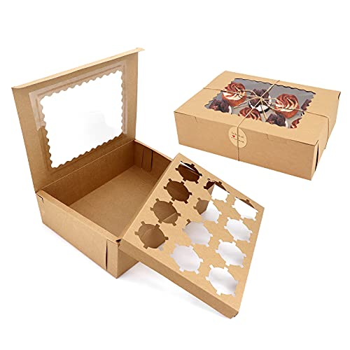 Confezione da 10 scatole per cupcake in carta kraft con finestra e inserti, scatole per pasticceria marroni Scatole per biscotti con spago di iuta e adesivi per cupcake, biscotti, dessert (12 inserti)