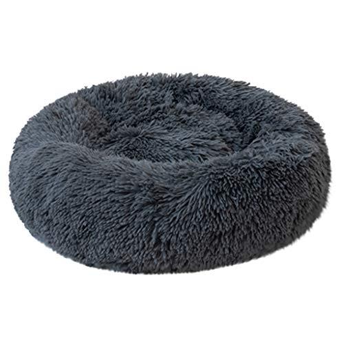 ABenxxou Chien lit, Chaud Tapis de Chien Rond Coussin Grande Taille Panier Lavable pour Chat Animaux de Deluxe Moelleux Lit pour Animal (XL(diamètre de 60cm, Hauteur de 20cm), Bleu foncé)