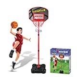 HMANE Children Adjustable Height Basketball Hoop Toys Sports Ball Games Portable Basketball Stand and Goals with Net Outdoor and Indoor