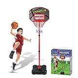 iVansa Basketballkorb Kinder, Höhenverstellbare Basketballkorb 109-141cm, Basketball Ständer Spiel Set inkl. Ball und Pumpe, für Kinder ab 6 7 8 Jahre