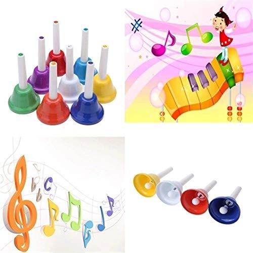 SEESEE.U Juguetes musicales de metal de color campana de mano 8 notas musicales niños juguetes musicales instrumentos de percusión juguetes musicales para niños (color: multicolor, tamaño: juego)