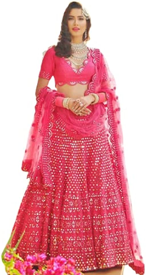 Hot Pink Phantom Silk Lehenga Choli Bollywood Lehenga Designer Lehenga Choli Marriage Lehenga choli Indian Festival Lehenga Choli for woman Indian Traditional Wear Party Wear