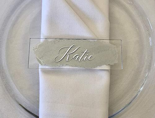 Geschilderd helder acryl perspex plaats naamkaarten keuze van lettertype en kleuren bruiloft gunsten