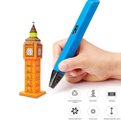 HWUKONG 3D Pen, DIY 3D Printing Pen, for Kids Drawing Pen Painting Toy Professional Printing 3D Pen with LED Display Applicable ABS/PLA Filament Material,Blue