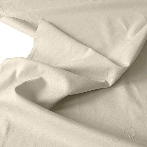 TOLKO Baumwollstoff | 42 kräftige ÖkoTex Farben Baumwoll-Nesselstoff Uni Kleiderstoff Dekostoff | Baumwolle Meterware 150cm breit | Vorhang-Stoff Bezugsstoff Webstoff 50cm (Beige)