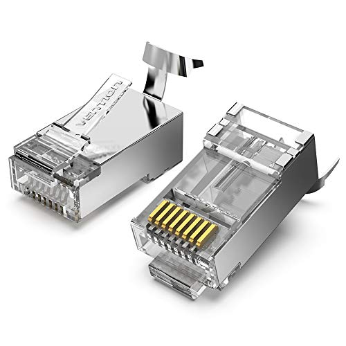 VENTION 10 Pack Cat 7 Connectors 50u Nickel Plated Shielded RJ45 Modular Plug for 23AWG Ethernet Cable Solid and Stranded Cat.6A Cat.7 Cable