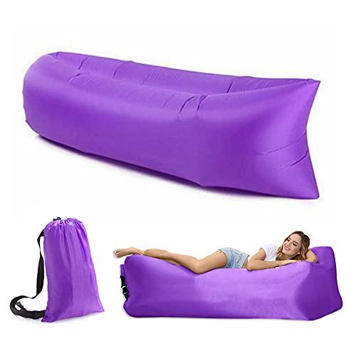 Mecmbj Aufblasbare Liege Luftsofa, Lila Luftsofa Luftsack Camping Sofa Aufblasbar Anti-Luft Leaking Tragbares Luft Couch mit Aufbewahrungstasche für Camping Strand Outdoor Park Reisen
