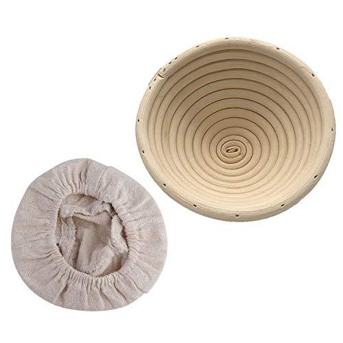 Keukenaccessoires, 8.5inch Ronde Banneton Brotform Cane Bowl Shape Brooddeeg Proofing Bewijzen Natuurlijke rotanmand met verwijderbare voering voor thuisbakkers (zuurdesemrecept) & brood maken
