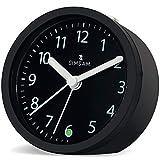 Wecker Analog   Wecker ohne Ticken mit Licht   Tischuhr Analog Lautlos   Reisewecker mit Batterie, Sleepfunktion, ansteigendem Weckton   Modern Mini Alarm Clock