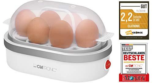 Clatronic 261686 EK 3497 Eierkocher, Zubereitung von bis zu 6 Eiern, akkustisches Signal (Summer), Silber, Weiß, Transparent