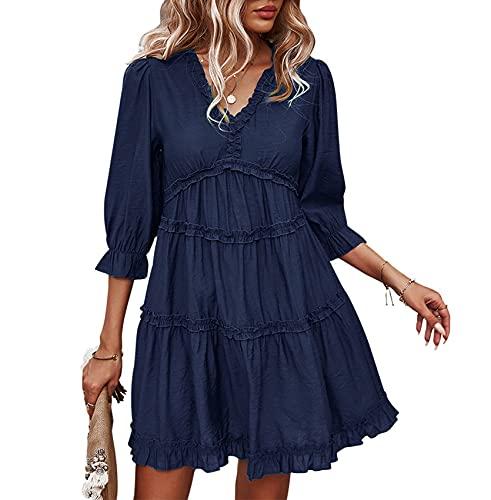WHZXYDN Lente en zomer dames casual stiksel korte rok V-hals sexy jurk - blauw - 5XL