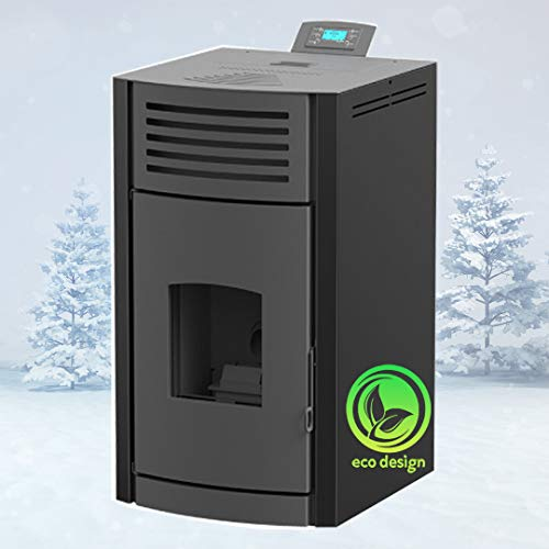 Estufa de pellets Mareli Onyx Hydro, 18 kW, calentador de pellets, calefacción central, estufa de pellets (negro)