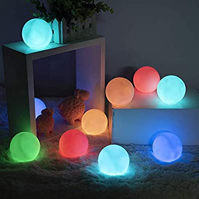 LOFTEK Led Night Light Balls 10 Packs, IP65 Waterproof Floating Pool Light, Color Changing LED Glow Balls with 6 PCS Extra Batteries for Pond Pool Decorations Outdoor Indoor Kids Night Lights Kid Toys