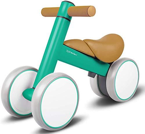 XJD Bicicleta de Equilibrio para Bebés 10-36 Meses sin Pedales con 4 Ruedas Ultraligera y Primera Bicicleta de Juguete para Niños Pequeños (Verde)